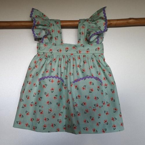 Ensemble robe à fleurs, béguin et culotte bouffante, cadeau naissance 6 mois