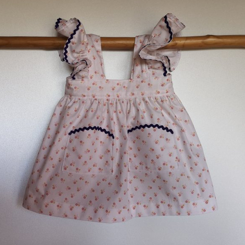 Ensemble robe blanche à fleurs, béguin et culotte bouffante, cadeau naissance 6 mois
