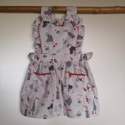 Ensemble robe blanche motif marin, béguin et culotte bouffante, cadeau naissance 6 mois