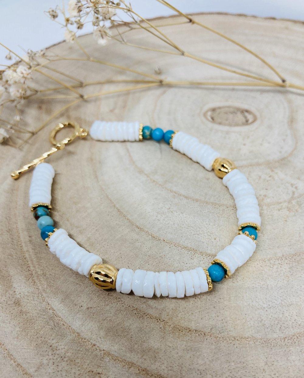 Bracelet heishi coquillages et Turquoises