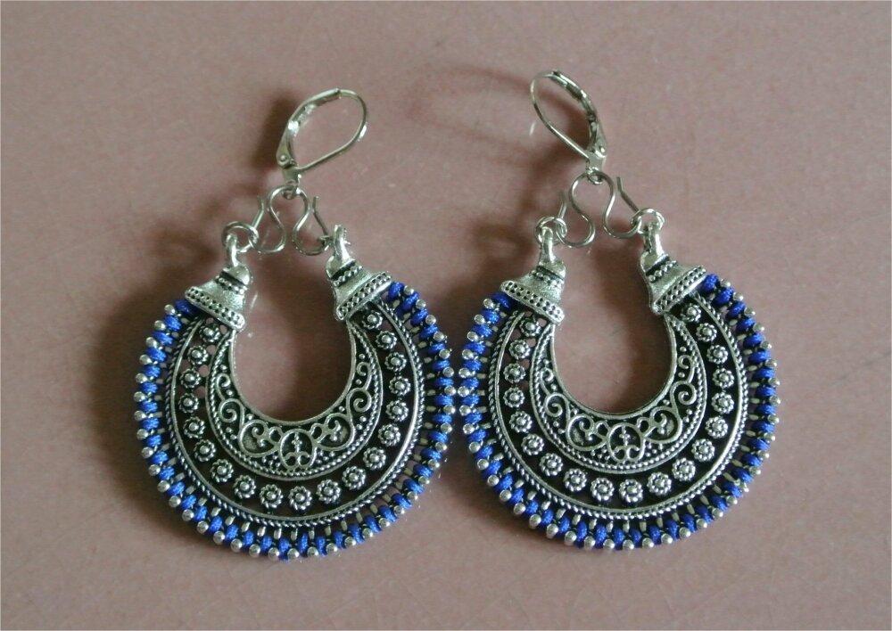 Boucles d'oreilles supports argent croissant créole, bordé d'un cordon bleu, crochets dormeuses
