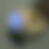Bague ajustable cabochon rond 14 mm en lapis lazuli bleu sur support métal bronze antique, taille 58 mm (taille us 8 1/4)