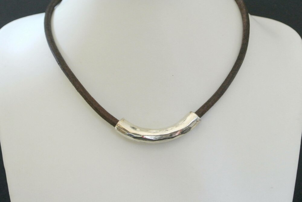 collier homme cuir et or