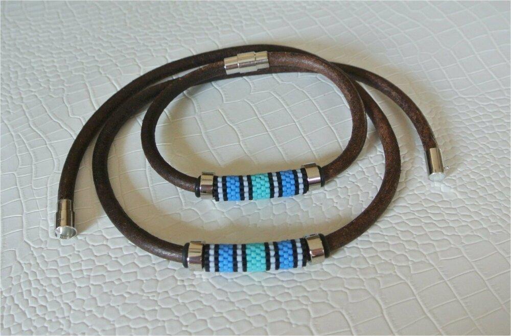 Parure homme bracelet 20,5 cm et collier 49,7 cm cuir brun tissagr peyote bleu vert