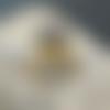 Bague cabochon 12 mm agate marron, taille 50 extensible à 56, lunette à visser, monture cuivre ton doré