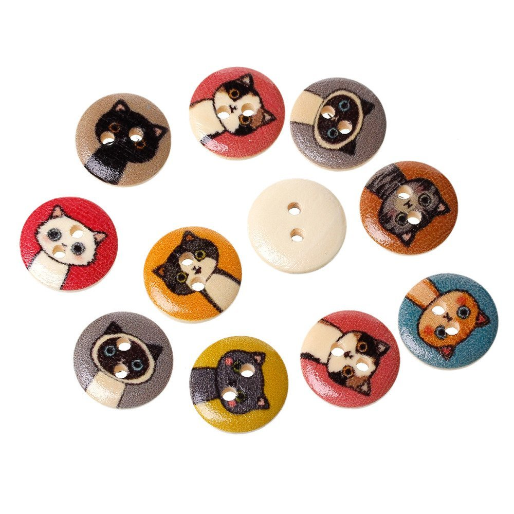 25 boutons bois chats 15 mm