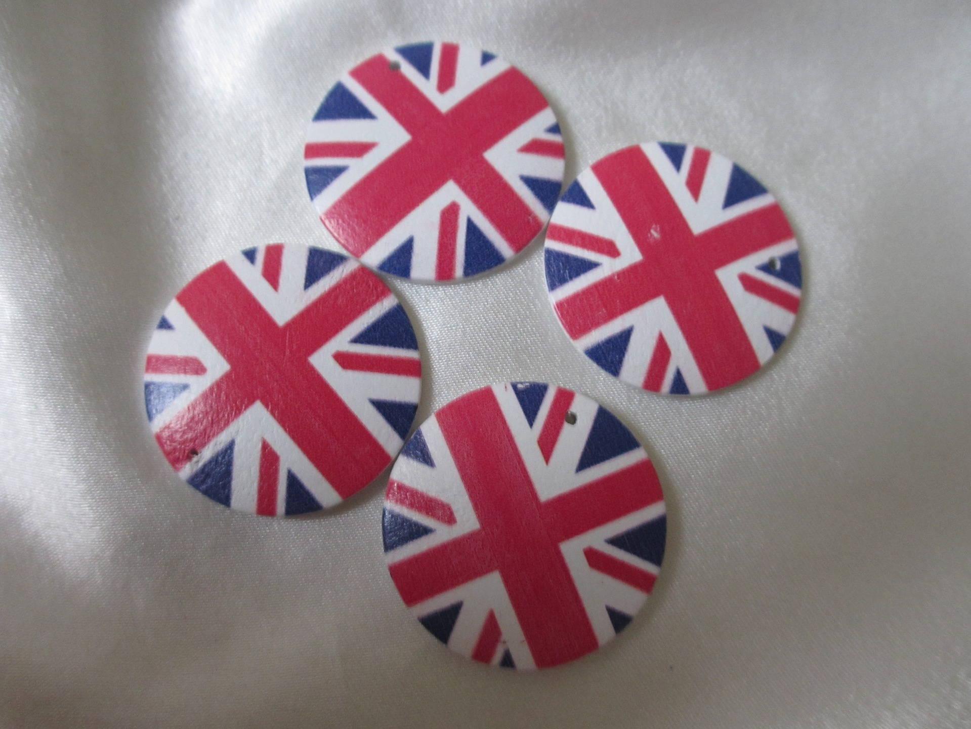 "Lot de 5 jolies grandes breloques/pendentif(3 cm) rondes theme ""Angleterre"""