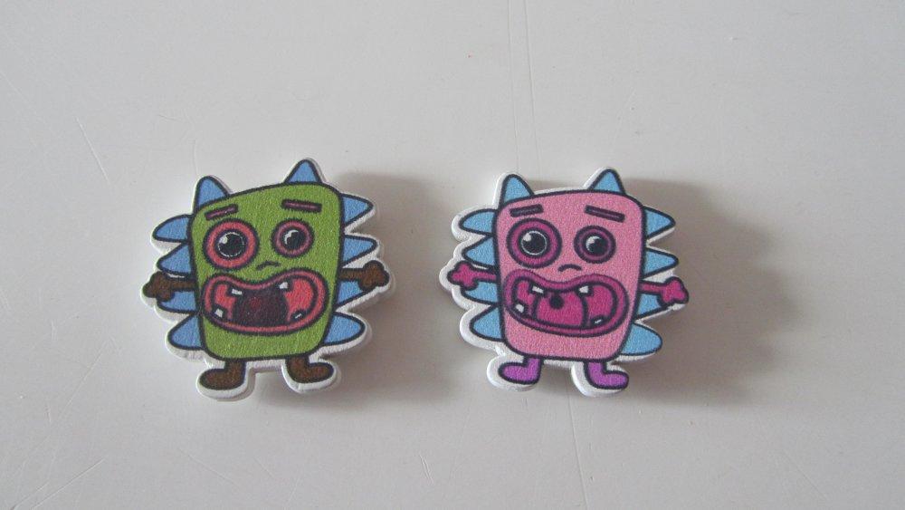 Scrapbooking embellissements 8 stickers en bois représentant des monstres