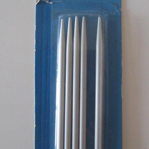 """Lot de 5 aiguilles à tricoter en aluminium numéro 4 - longueur  20 cm - de marque """"top *star"""""""