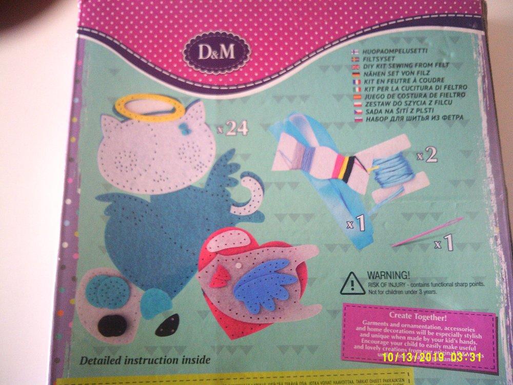 kit en feutre à coudre pour fabriquer un porte crayon chat - 5 ans et plus