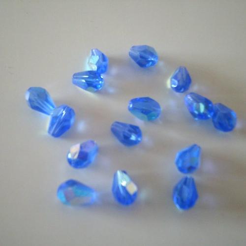 Tube de 15 perles en forme de goutte cristal facettées - 8 mm x 6 mm