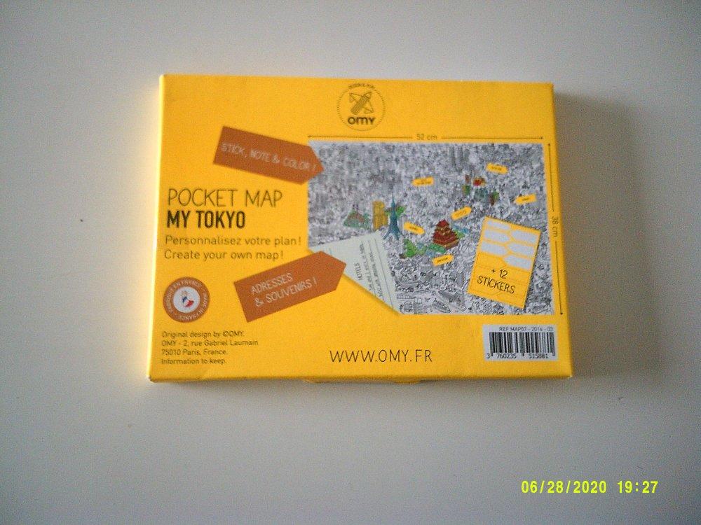 OMY - Pocket Map sur Tokyo- 1 grand plan + 12 mémo stickers à customiser - 52 cm x 38 cm