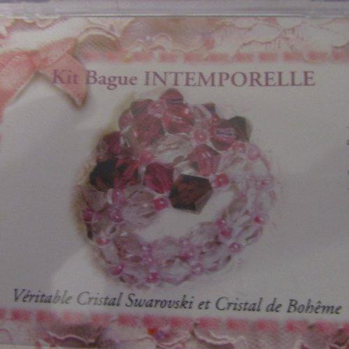Kit bague intemporelle véritable cristal swarovski et cristal de bohème -  naturel/miel