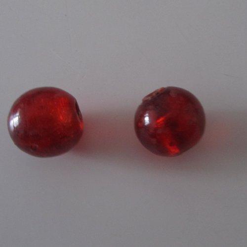 Lot de 2 grosses perles en verre de forme ronde (boule) rouge avec feuille argent intérieur