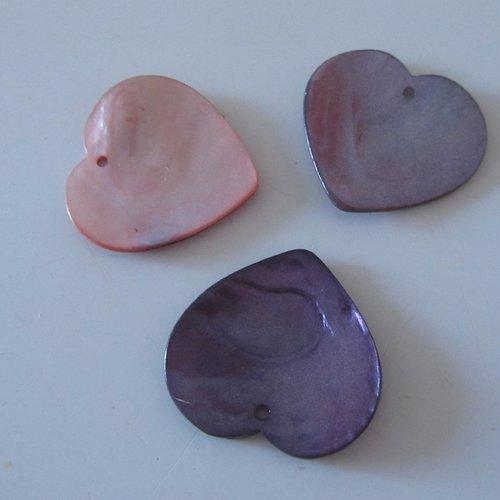 Lot de 3 grands pendentifs en nacre en forme de coeur - 3 cm x 3 cm