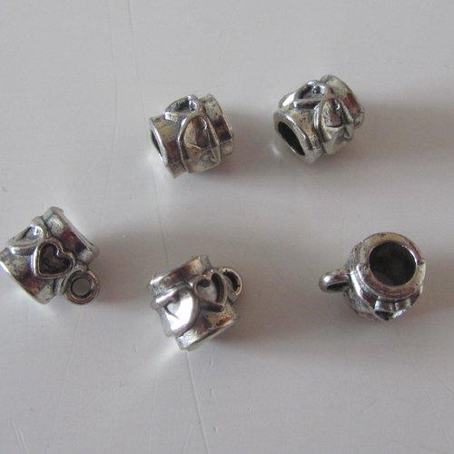 perle metal 16 laiton argent anneau ronde plate fleur //4