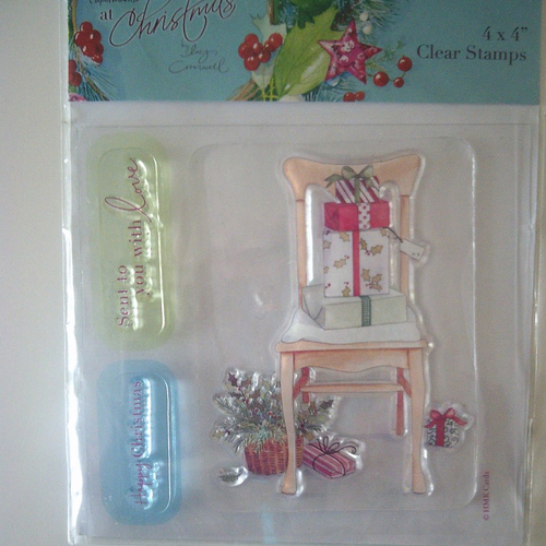 """Planche de 3 tampons transparents mais colorés - modèles : """"noël"""""""