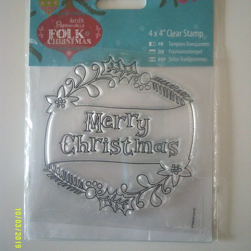Tampon clear  stamp (transparent) - folk christmas - merry christmas