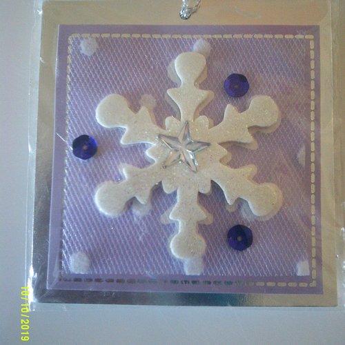 Lot de 2 étiquettes cadeaux  avec fil argent (3d) - thème hiver - flocon de neige