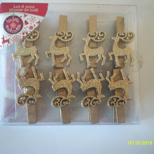Lot de 8 pinces à linge, épingle en bois avec rennes dorés avec paillettes  - pinces de noël