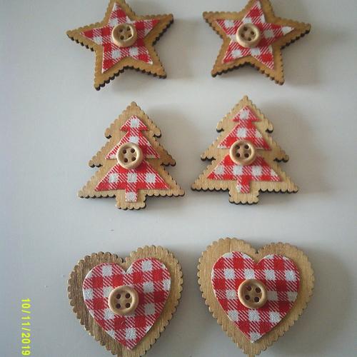 Lot de coeurs, étoiles et sapin de noël en bois à carreaux vichy et bouton en bois