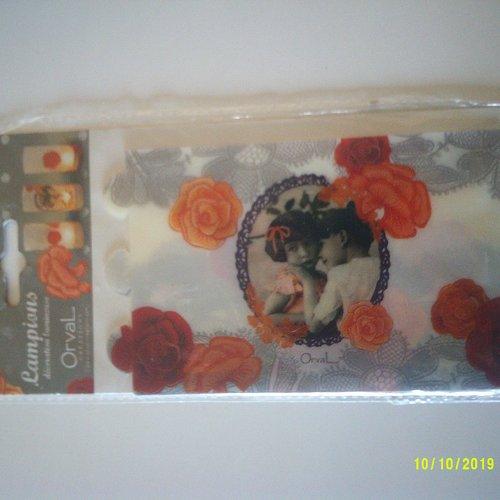 Lot de 3 lampions fleuris différents - décorations lumineuse style rétro - 10 cm x 4,5 cm
