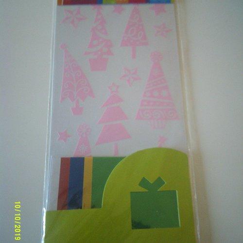 Scrapbooking embellissements décalcomanie avec papier métallisé - noël - sapins