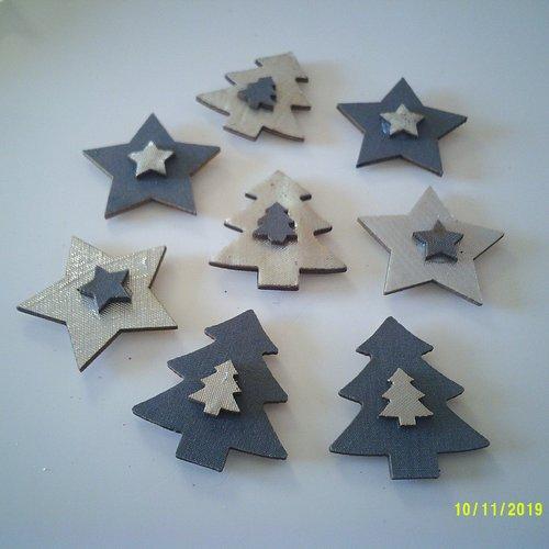 Lot d' étoiles et sapins de noël en bois recouvert de tissu argenté et mat