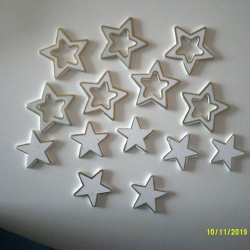 Vite noël approche à grands pas - pour vos décoration : lot de 14 étoiles blanches et or - en bois