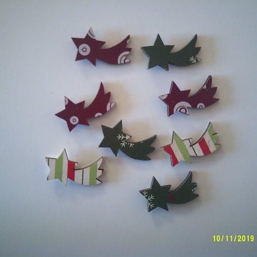 Lot de 8 étoiles filantes en bois - vite les fêtes de fin d'année approches à grands pas.