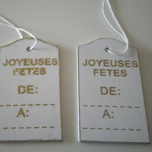 Lot de 2 cartes messages en bois - blanc et or - inscription : joyeuses fêtes