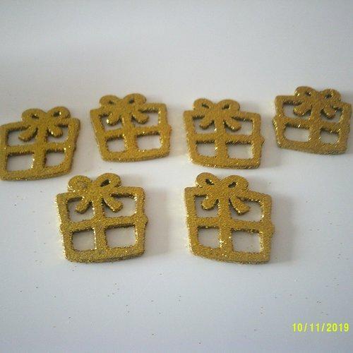 Lot de 6 cadeaux en bois pailletés d'or - les bagatelles d'esther