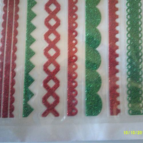 Planche de 7 frises adhésives pour décorer,  carte, cahier, journal intime, agenda, cadeaux...