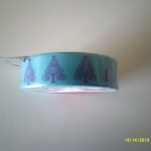 Rouleau de 10 mètres de masking tape - thème arbre en arabesques - sapin