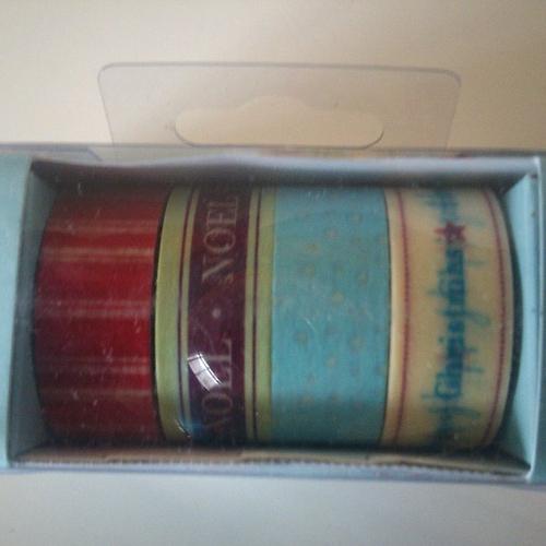 Lot de 4 rouleaux de patterned craft tape - 5 m x 15 mm - thème christmas