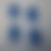 Lot de 4 petits oursons en bois de couleurs bleu et parme