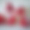 Sachet de 5 gros bateaux en bois de couleur rouge voile à pois