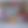Toile - tissus  pour patchwork - fruits et légumes en forme de fleurs, lunettes et tourne disque  - 100 % coton - 45 x 45 cm