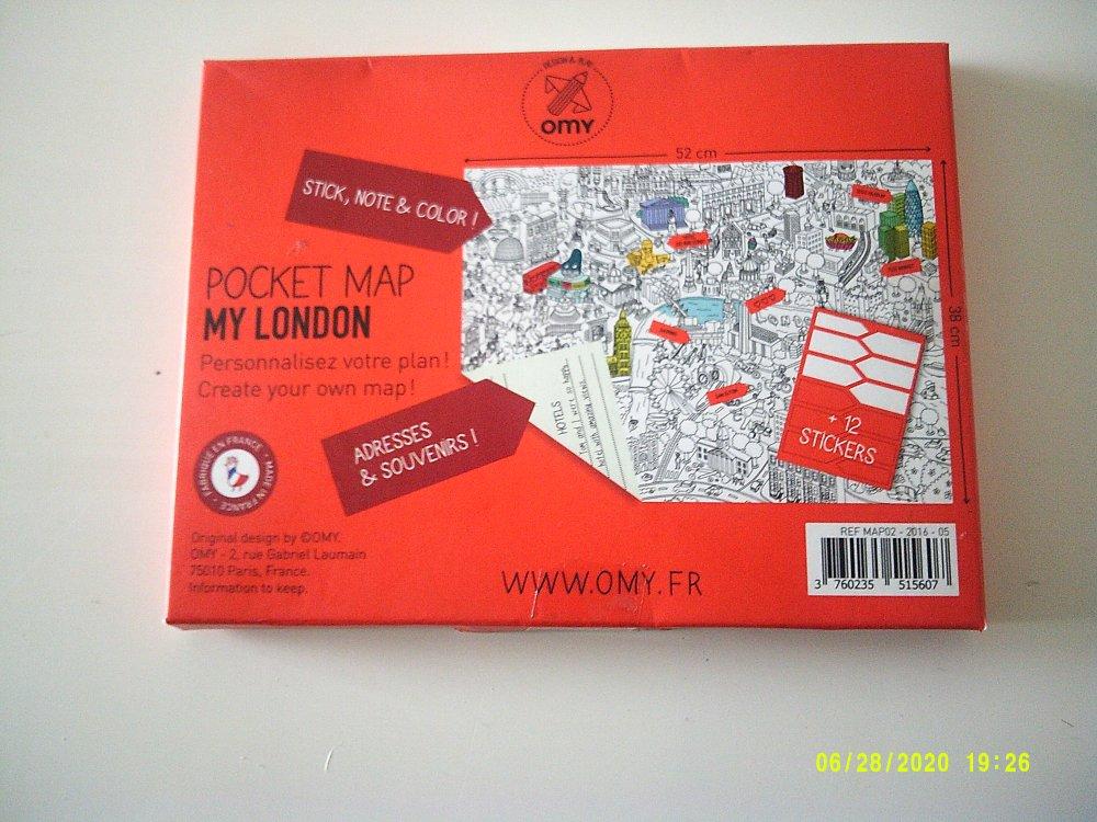 OMY - Pocket Map sur London - 1 grand plan + 12 mémo stickers à customiser - 52 cm x 38 cm
