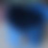 Panier, corbeille, vide-poches en feutrine et bouton bois - de couleur bleu - fait main