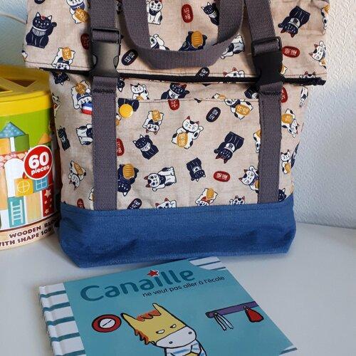 Cartable maternelle, sac à dos motif chat neko , kawaii , motif japonais , sac d'école , sac pour la crèche , nounou