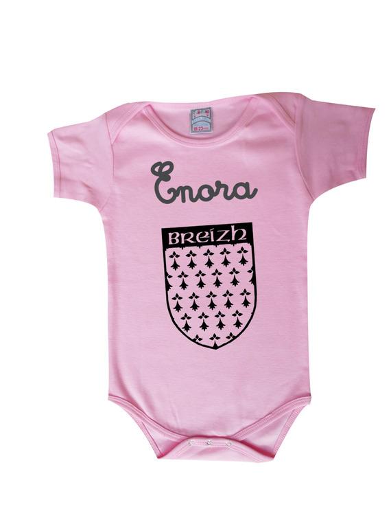 Body bébé breton personnalisable avec prénom au choix, sur blason de bretagne