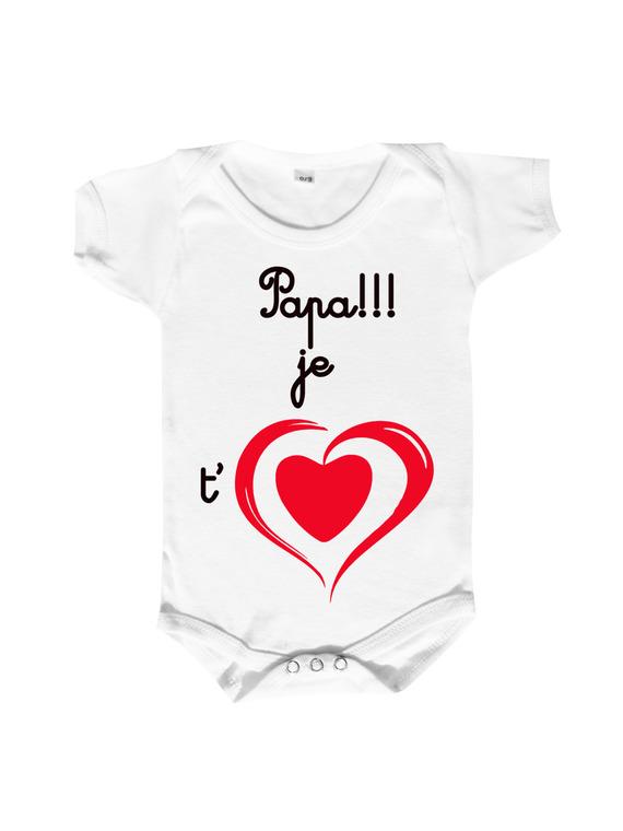"""body bébé message d'amour """" je t aime"""" a personnaliser au choix, joli cœur rouge."""