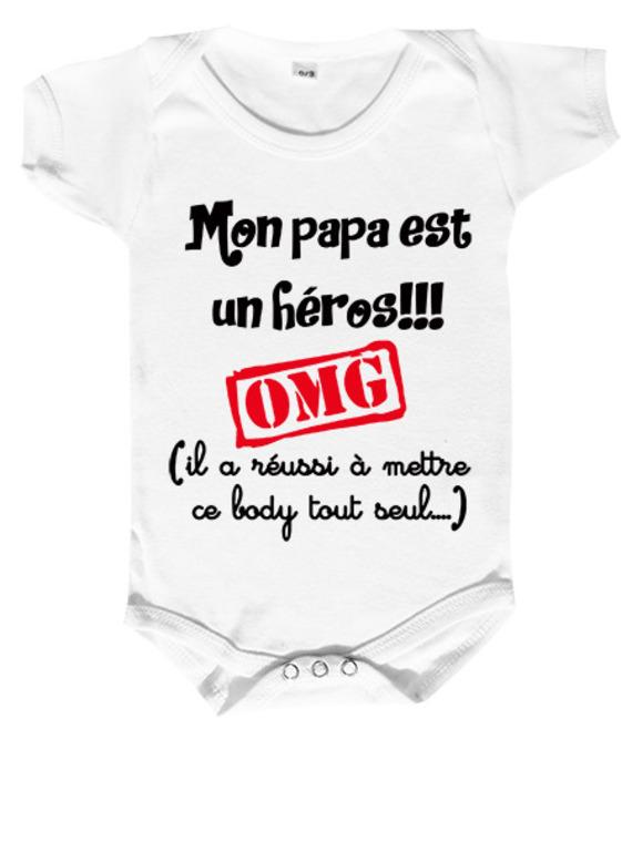 """Body bébé humour """"mon papa est un héros..."""""""
