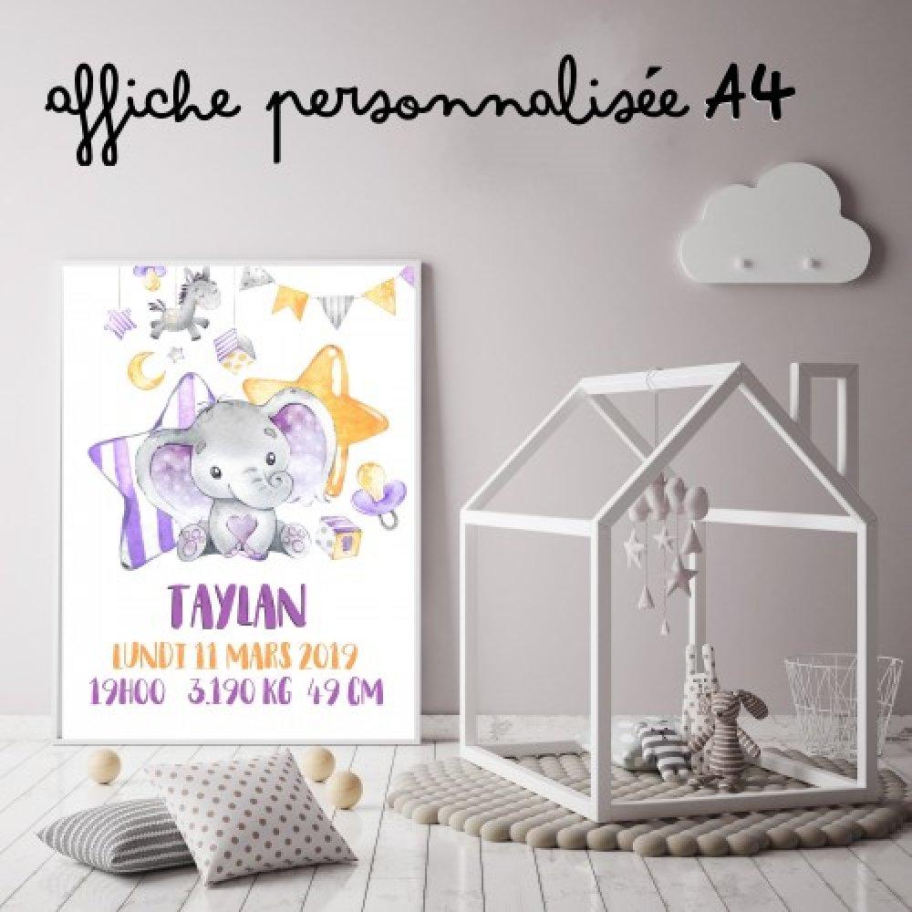 Affiche naissance verticale Eléphant