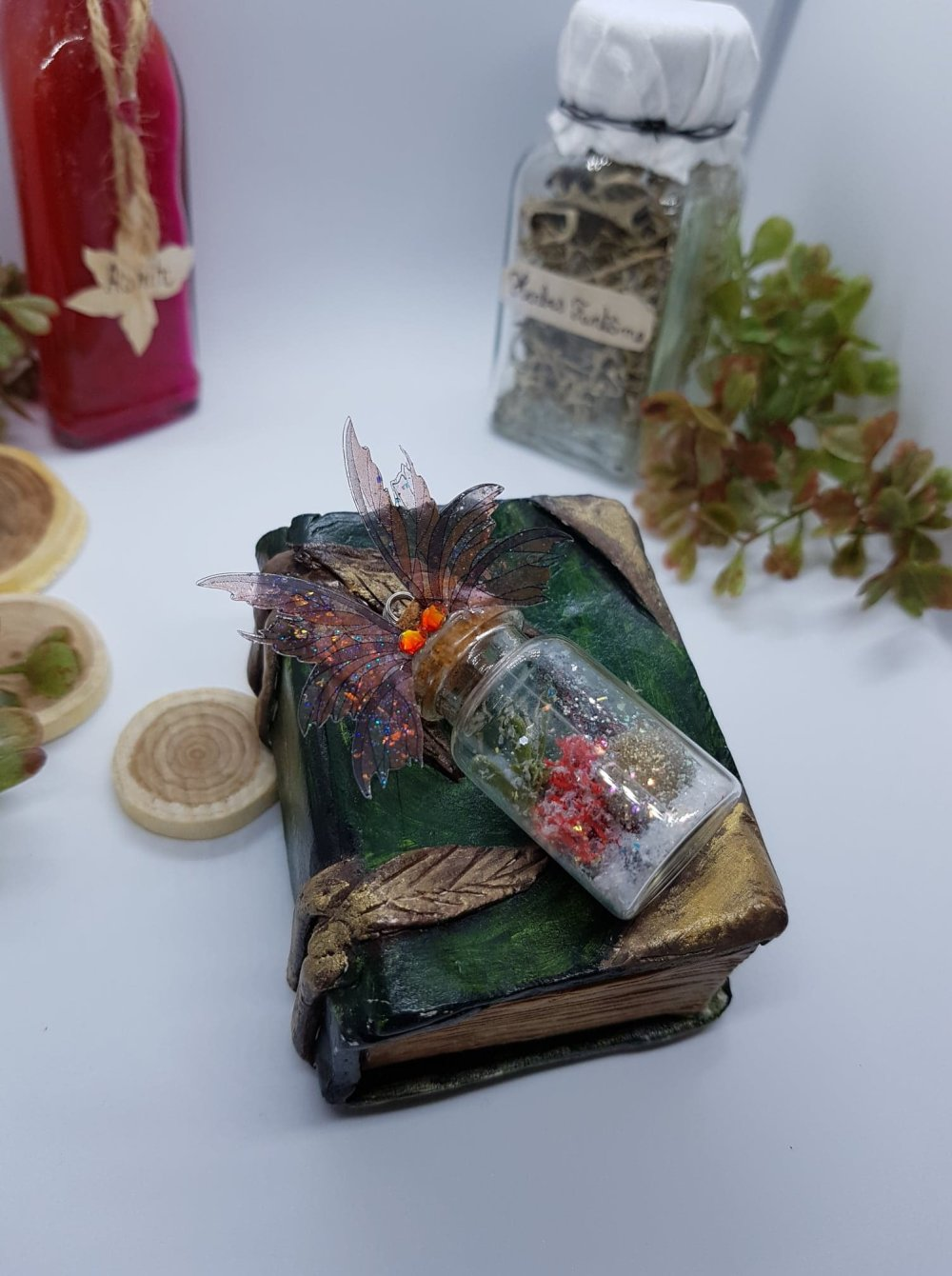 Boule de noël ailes de fée marron, fiole miniature aile de fée automnale pour sapin de noël