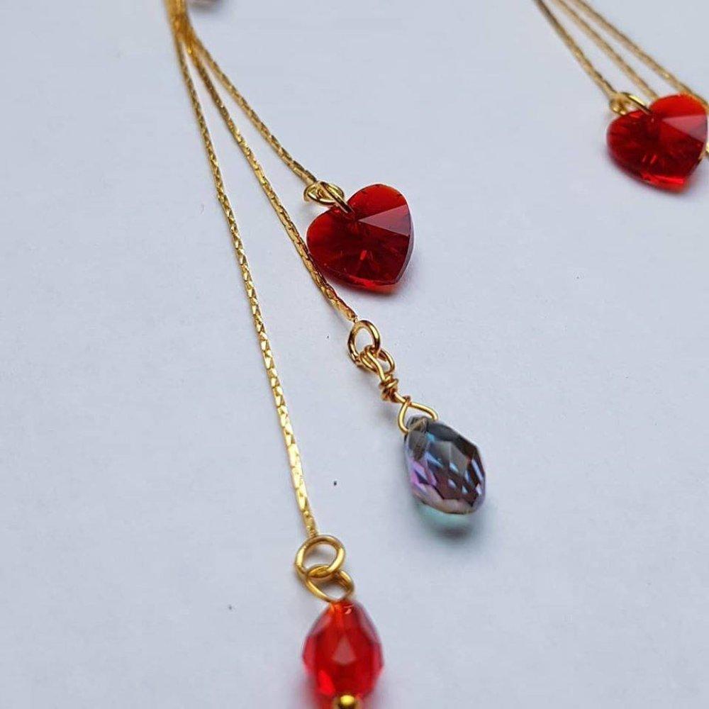 Boucles d'oreille dorées cœur rouge cristal et perle rubis Romance