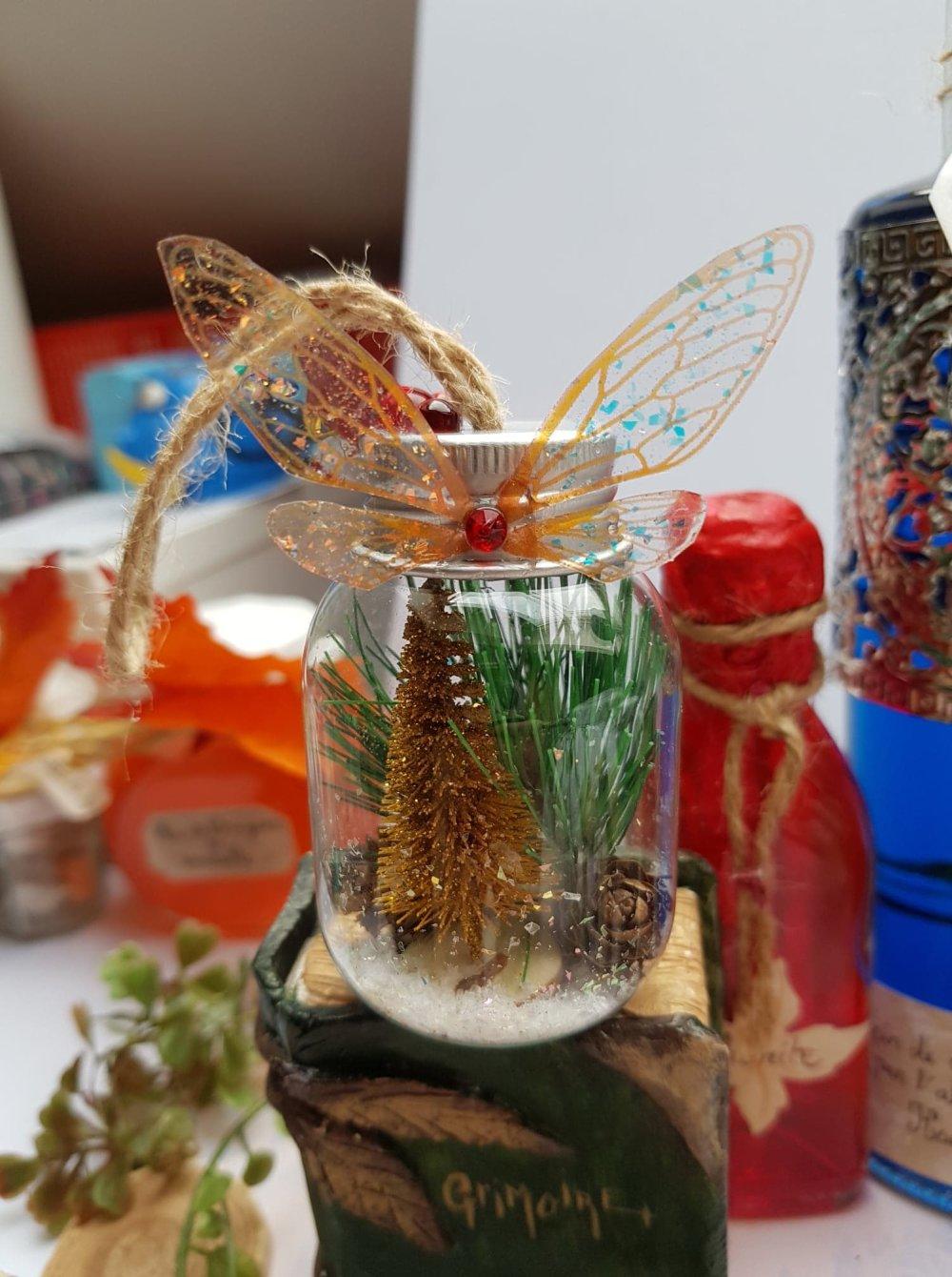Boule de noël ailes de fée ambrées, fiole ailes de fée ambrées pour sapin de noël