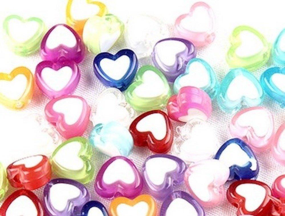 x 100 perles coeur en acrylique, multicolores 8mm - 5*10 couleurs