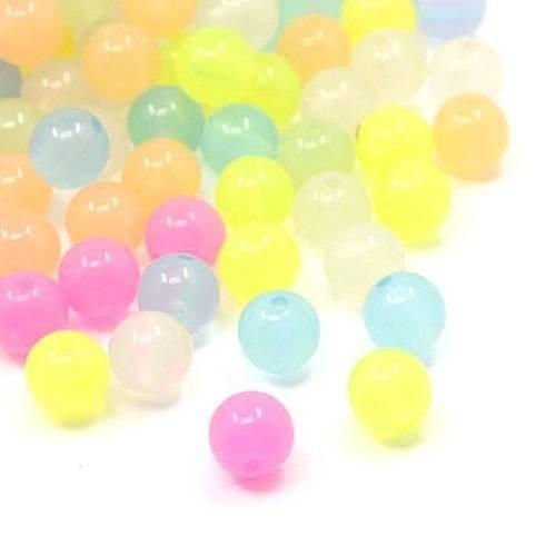 X20 perles acrylique 10mm, façon jelly (bonbons), tons pastels